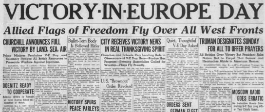 Victory in Europe Day, 1945 - Allied Flags of Freedom. Flu Over All West...