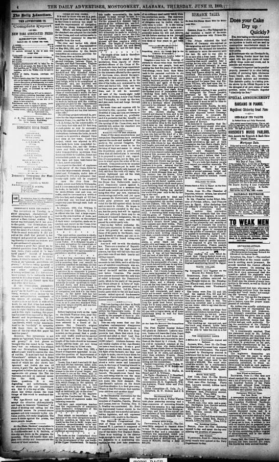 Coosa River - Locks-Size - Montgomery Advertiser - 12 Jun 1890 -