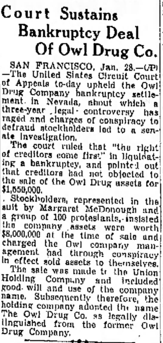 Court sustains Owl Drug bankruptcy 1935 -