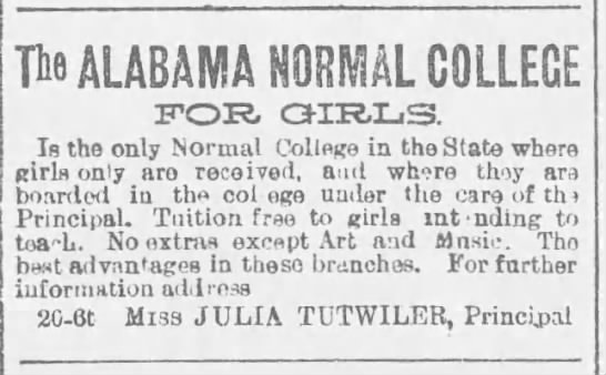 Tutwiler  Aug  1891  Julia sole principal  - Newspapers com