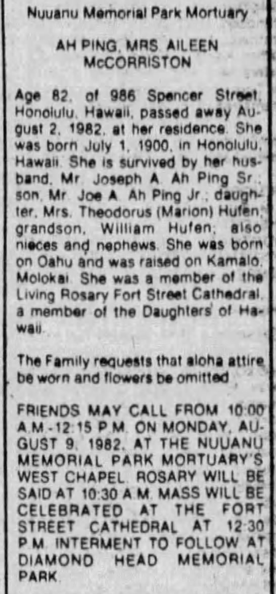 Obituary of Aileen McCorriston Ah Ping, 1982 -