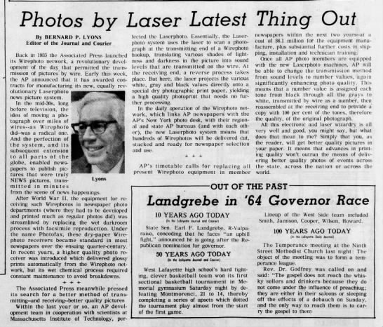 Wirephoto to be phased out for Laserphoto, 1974 -