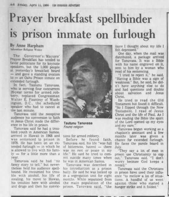 Prayer Breakfast Spellbinder is prison inmate on furlough.  Tautunu Tanuvasa tells his tale of findi -