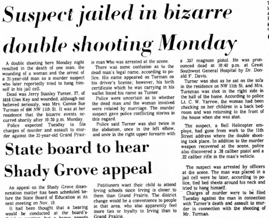 Suspect jailed in bizarre double shooting Monday/ 8 Oct 1969 Grand Prairie Daily News -