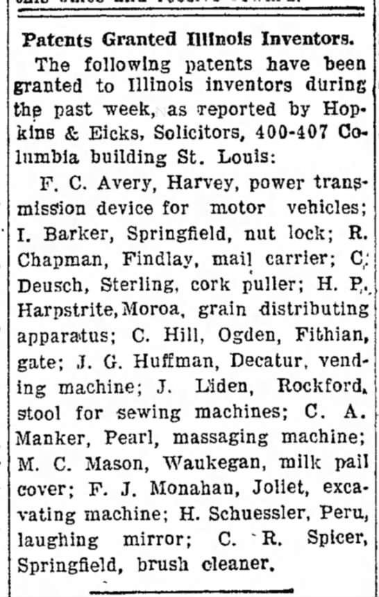 14 April 1908Patents Granted Illinois InvestorsH. Schuessler, PeruLaughing Mirror -