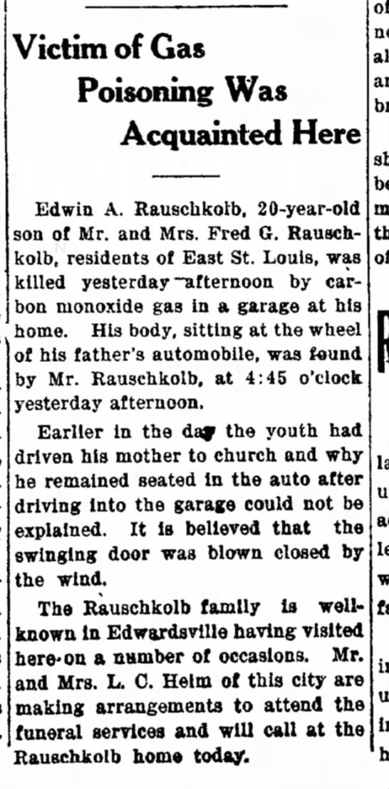 Edwin A. Rauschkolb - The Edwardsville Intelligencer (Edwardsville, Illinois)19 Mar 1927, SatPage 1 -