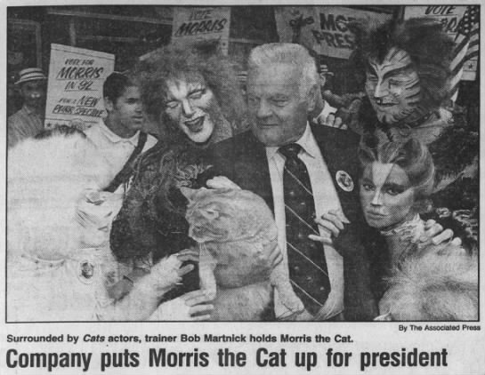 Morris the Cat 1992 run for presidency -