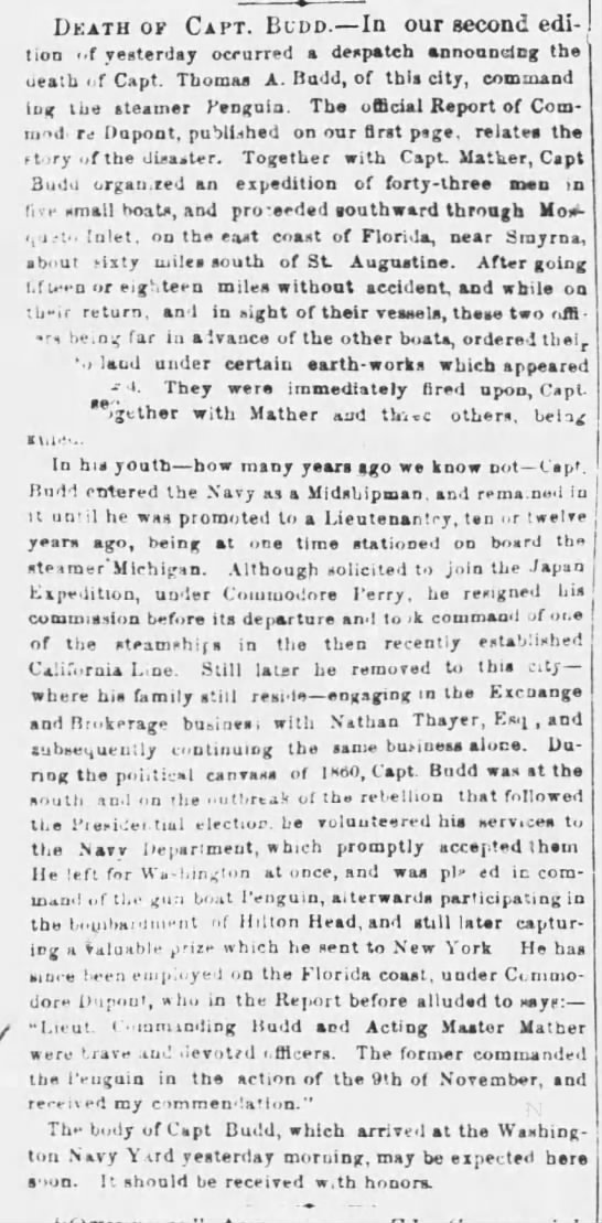 Death of Capt. Budd, The Buffalo Commercial (Buffalo, New York) April 1, 1862, page 3 -