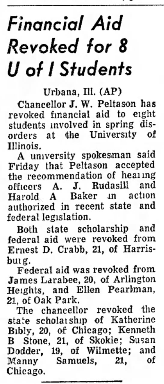 A.j. Rudasill - , a r k e l Financial Aid Revoked for 8 U of I...