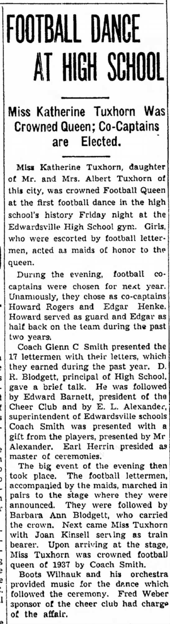 Katherine Tuxhorn - First Football Queen - b» F. W. Amrica of ap the to tangible the C....