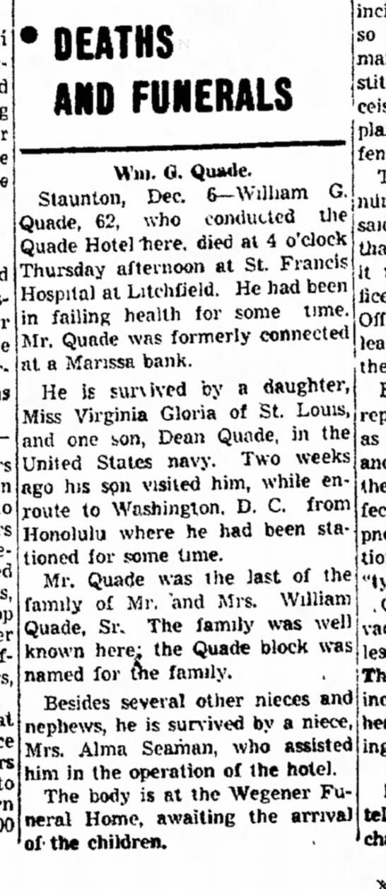 William G Quade Jr, William G Quade Sr Alma Seaman Quade Hotel 6 Dec 1940 Staunton, Illinois -