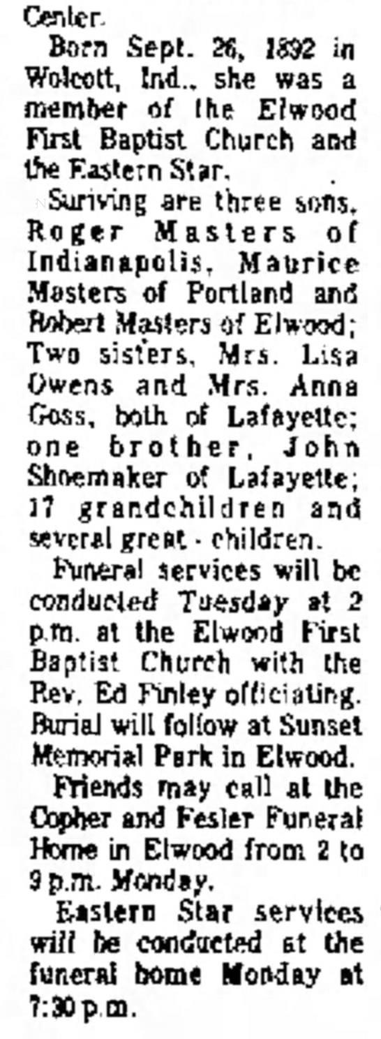 Edna Viola Shoemaker - Death Notice - 04.10.77 -