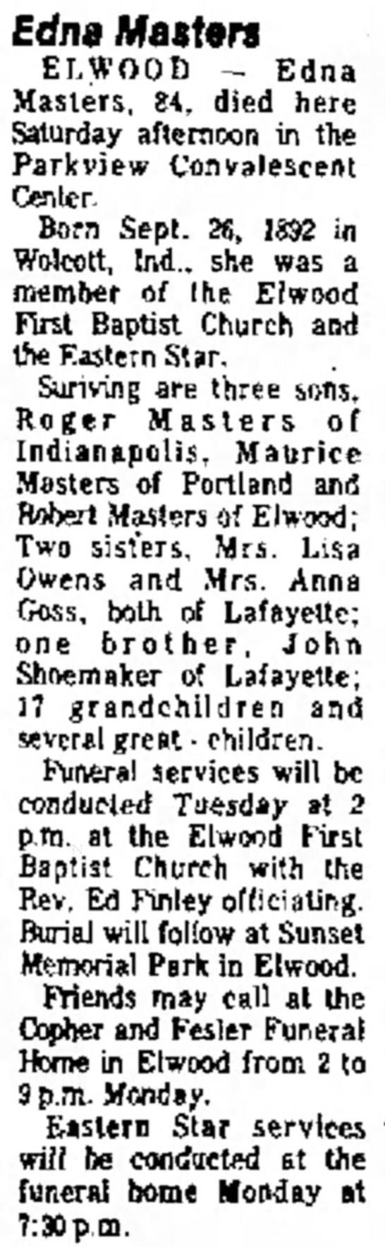Edna Viola Shoemaker 84 - Death Notice 04.10.77 -