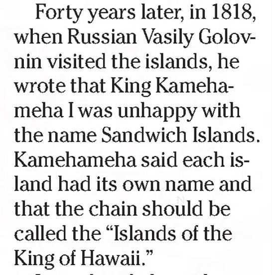 "King Kamehameha wants islands known as ""Islands of the King of Hawaii"" -"