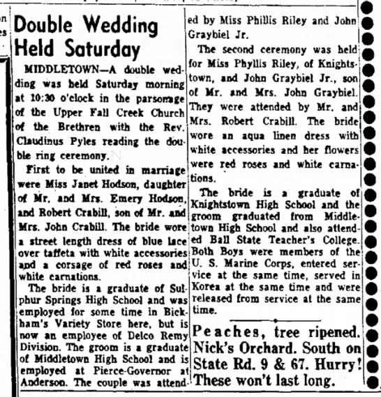 Robert Crabill - Possible 2 - on Double Wedding Held Saturday MIDDLETOWN-A...