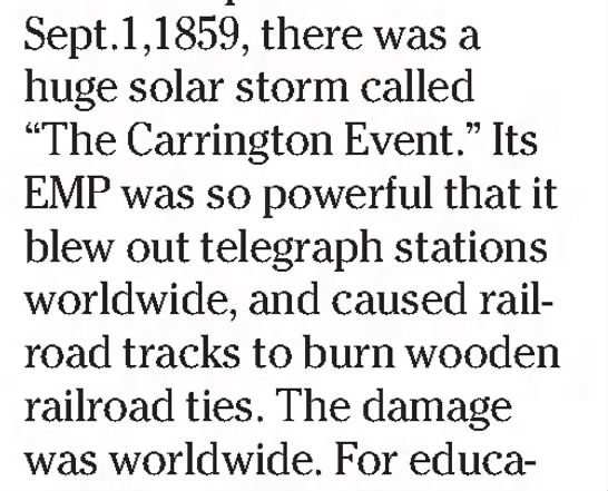 Carrington Event so powerful that telegraph stations worldwide were blown out -