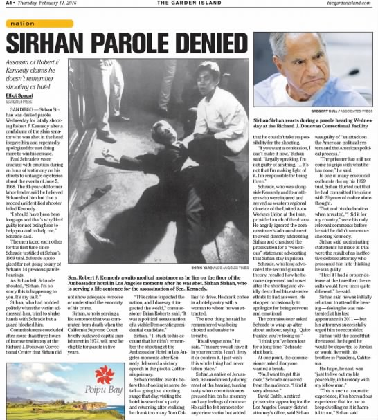 Sirhan denied parole for the 15th time -