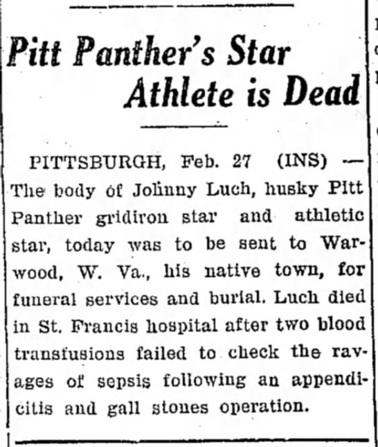 John Luch Death in Pittsburgh - s Star Athlete is Dead PITTSBURGH, Feb. 27...