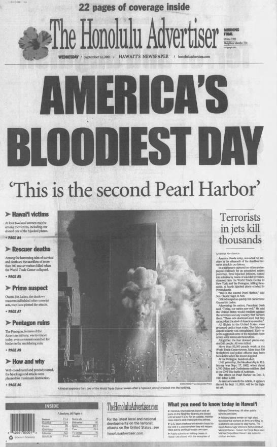 Sept. 11, 2001: Terrorists attack World Trade Center, Pentagon -