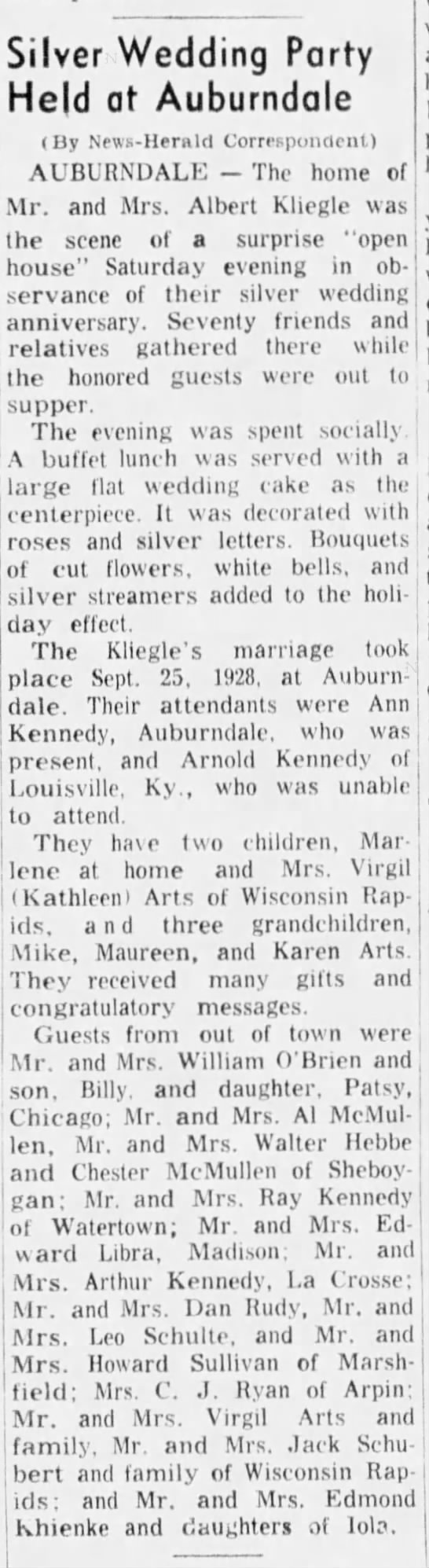 KLIEGLES:  Silver Wedding Party Held at Auburndale -