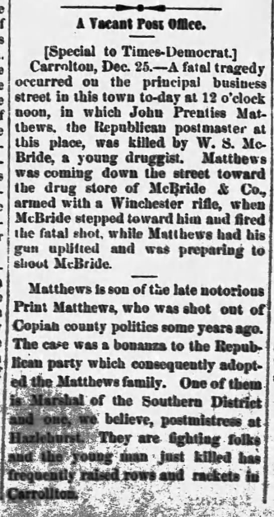 Print Matthews Jr killed in Carrollton Dec 25 1890 Weekly Demo Times