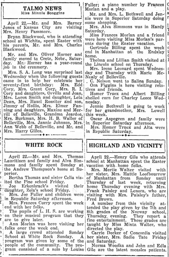 White Rock happenings April 24, 1930 - TALMO NEWS Miss Minnie Scogglns I his parents,...