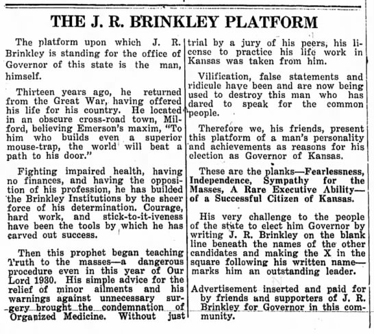 Kansas governor campaign ad for J.R. Brinkley, huckster and quack doctor (1930) -