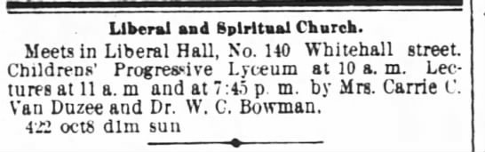 1882.10.15 Rev. Bowman and Liberal and Spiritual Church -