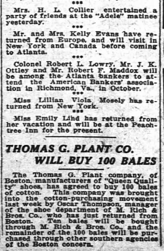 1914 Oscar Thompson mgr shoes negotiates purchase of cotton bales -