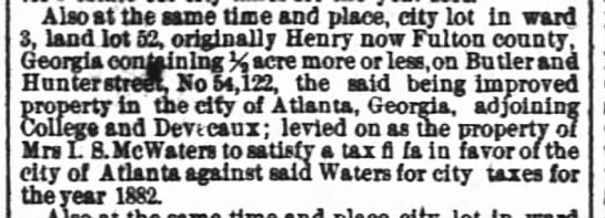 McWaters Mrs. I S levied on as property of 18 Nov 1822 Atlanta Constitution -