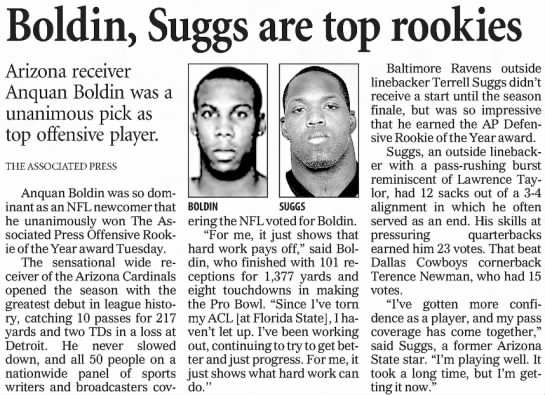 Boldin, Suggs are top rookies -