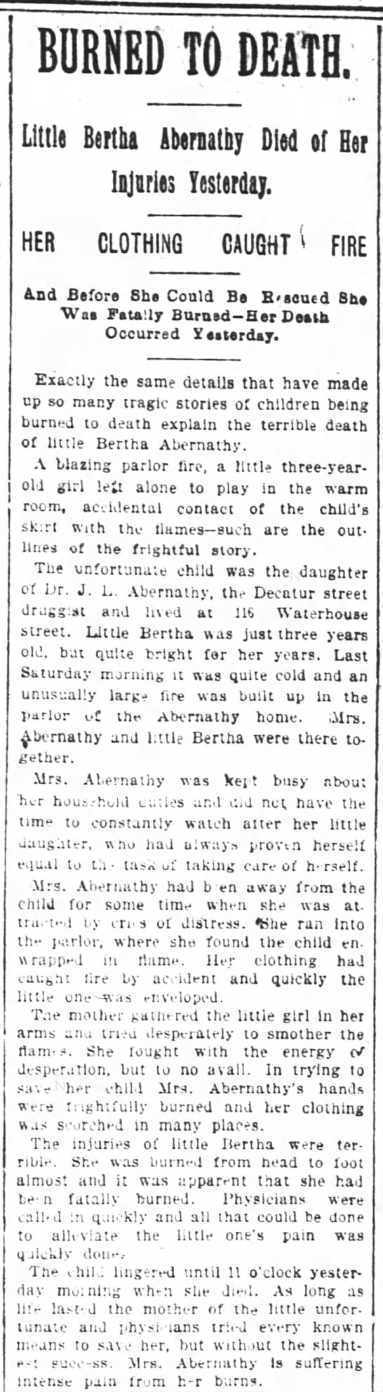 Abernathy girl burns to death