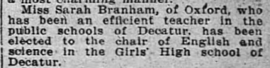 1914 Sarah as High School English teacher in Decatur -