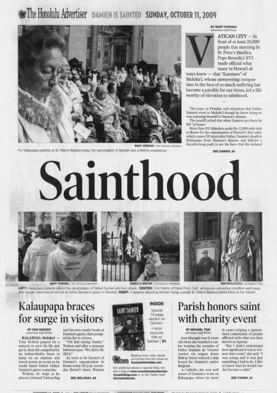 Oct. 11, 2009: Father Damien of Molokai becomes a saint -
