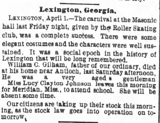William Campbell Gillham - Death Notice - Lexington Georgia. LKXISGTOK April 1. The...