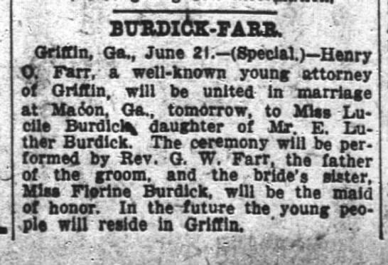 "1904-06-22 FARR HENRY O FARR, REV G W - ENGAGEMENT - LUCILE BURDICK - Ga June 21. Henry raweU-lttiown""youBJattorney..."