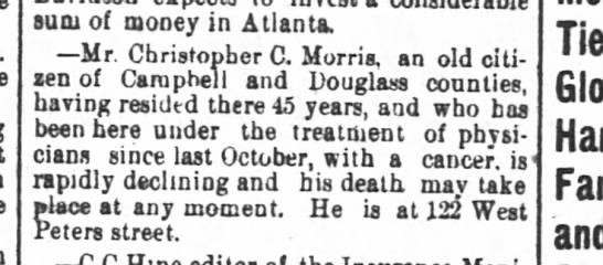 CC. Morris death notice -