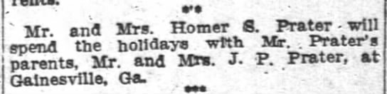 Homer S. Prater - tr and Mrs Homer 8. Prater will epend the...