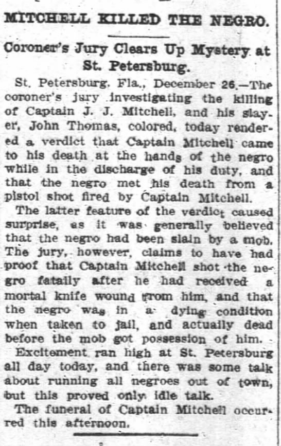 Mitchell, J. J. murder in FLA. 