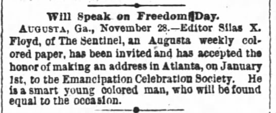 Will Speak on Freedom Day, The Atlanta Constitution (Atlanta, Georgia) November 29, 1891, page 19 -