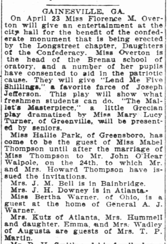 1907 Miss Mabel Thompson of MM Howard Thompson to wed John O'Hear  -