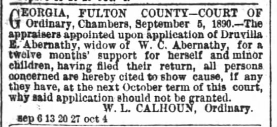 Abernathy, W. C.  widow 
