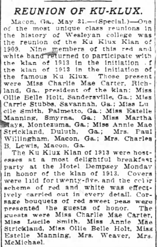 Article - Ku Klux Klan 1909 Reunion -