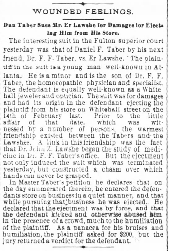 Daniel Taber, son of F. F. Taber, sues store owner. 1883 -