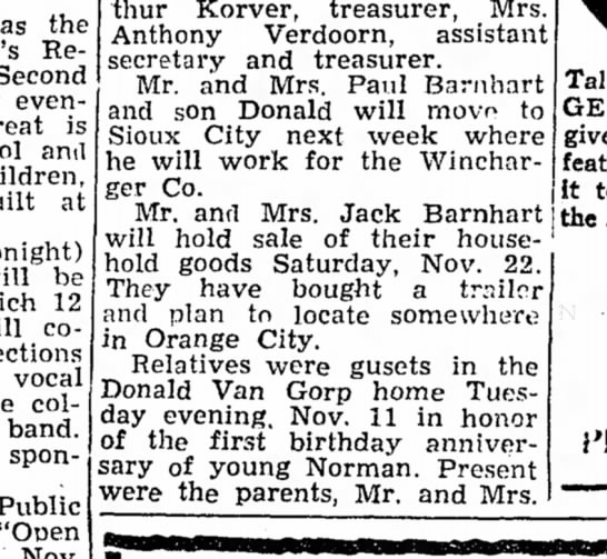 Jack Barnhart - 20 Nov 1952 - Alton Democrat, Iowa -