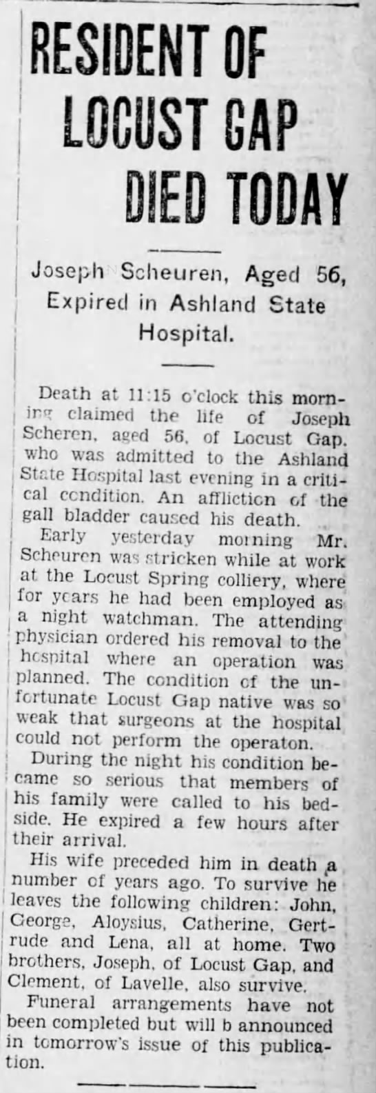 Joseph Scheuren death announcement, 27 Dec 1928, Thursday -
