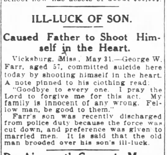 1909-06-01 FARR GEORGE W COMMITTED SUICIDE SHOOTS SELF IN HEART -