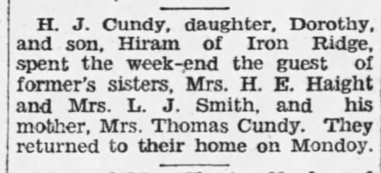- H. J. Cundy, daughter, Dorothy, and son, Hiram...