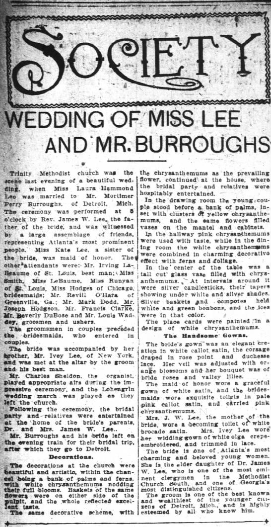 Lee, Laura Hammond.  Wedding of Miss Lee and Mr. Burroughs. Atlanta, GA Nov 1908 -