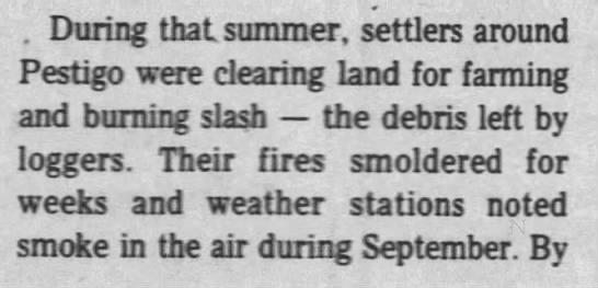 Smoldering fire contributes to Peshtigo firestrom -